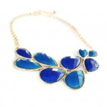 Cobalt Faceted Teardrop Cluster Statement Bib Necklace