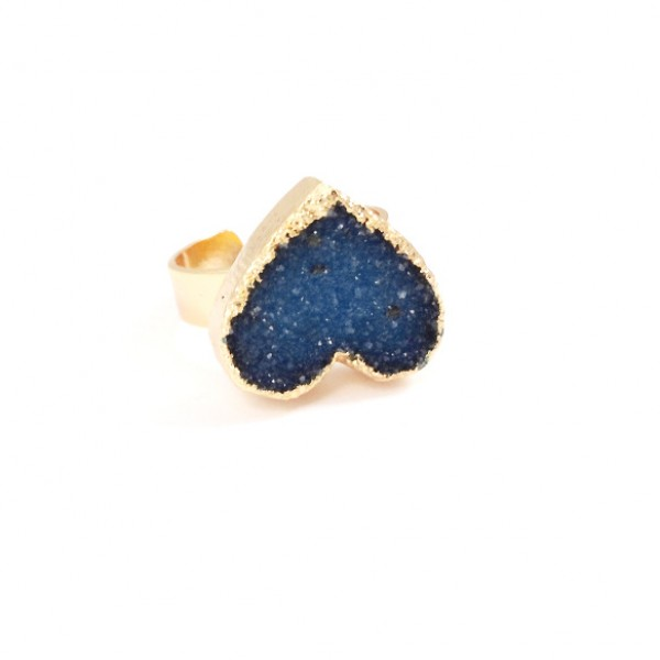 Midnight Blue Druzy Heart Statement Ring