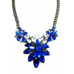 Sapphire Petal Crystal Gemstone Statement Necklace