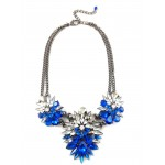 Sapphire Floral Burst Marquise Stone Cluster Statement Necklace