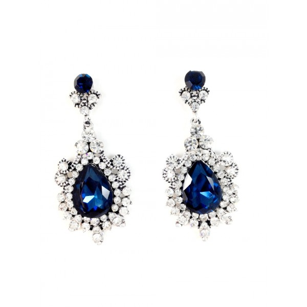 Snow Princess Sapphire Gemstone Statement Earrings