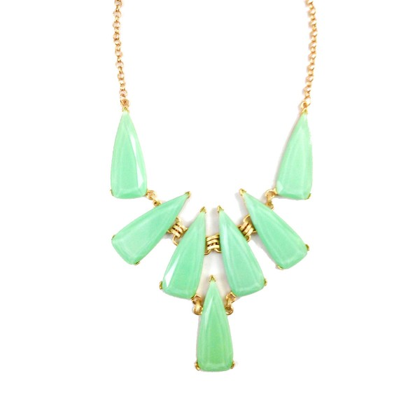 Lurina Mint Opal Geo Stone Bib Necklace