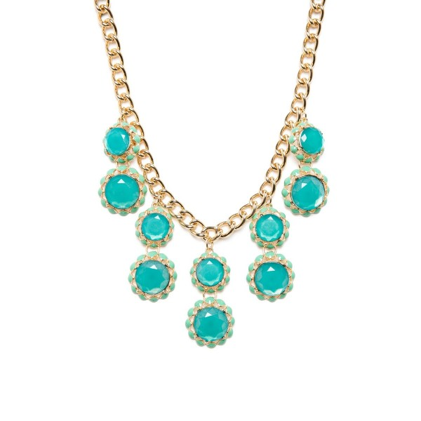 Seafoam Enamel Sunflower Cascade Statement Necklace