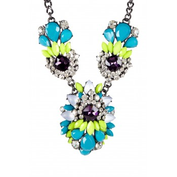 'St. Tropez' Neon Color Marquise Cluster Statement Necklace