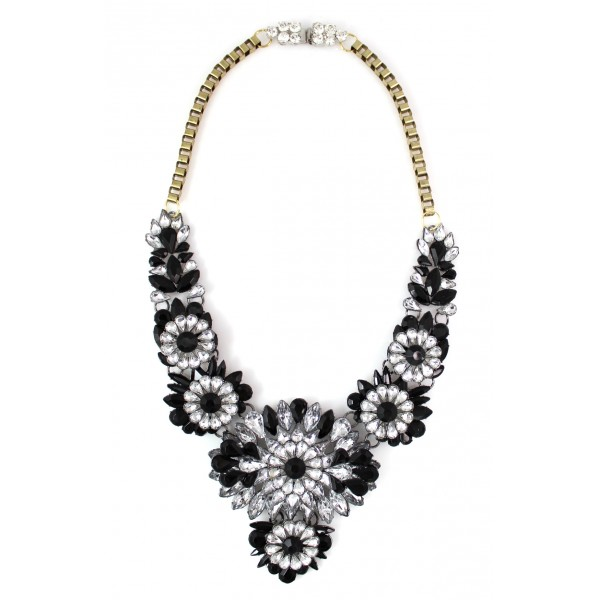 Apolonia Black Crystal Stone Necklace