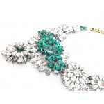 'Apolonia' Emerald Crystal Stone Burst Statement Necklace