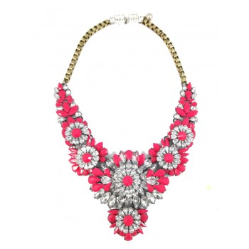 Apolonia Neon Pink Crystal Stone Cluster Statement Necklace