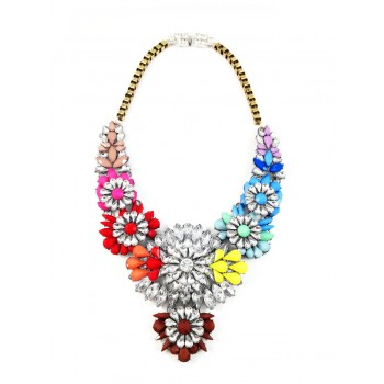 Apolonia Rainbow Neon Crystal Mix Statement Necklace