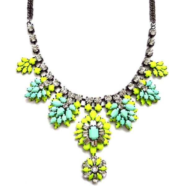 Neon Nightingale Enamel Stone Statement Necklace