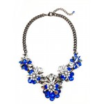 Sapphire Marquise Jewel Crystal Cluster Statement Necklace