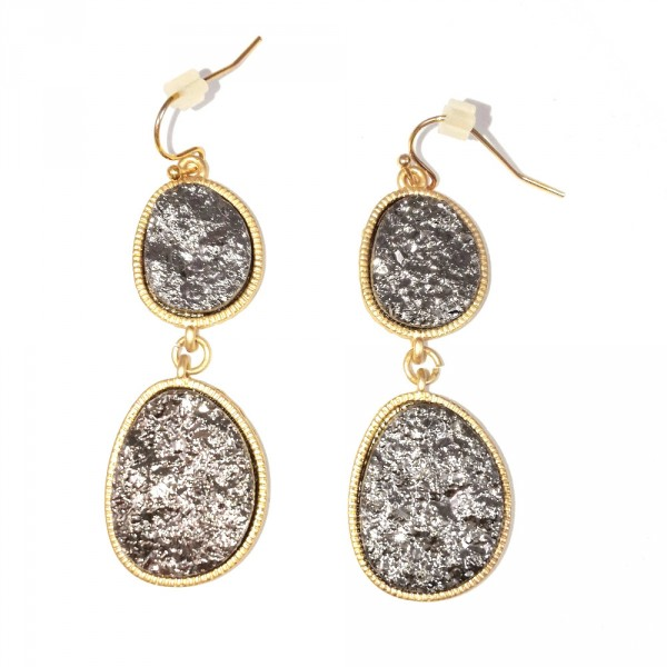 Silver Duo Geode Druzy Stone Drop Earrings