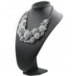 Silver Hydrangea Borealis Stone Statement Necklace