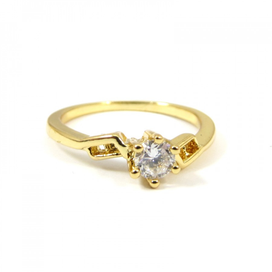 Geo Crystal Cubic Zirconia 18k Gold Ring