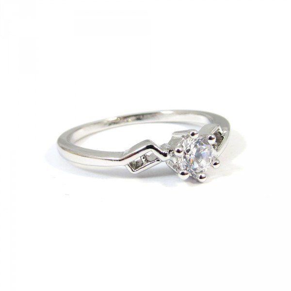 Solitaire Geo Crystal Cubic Zirconia Sterling Silver Ring