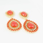 Coral Teardrop Cabochon Crystal Encrusted Earrings