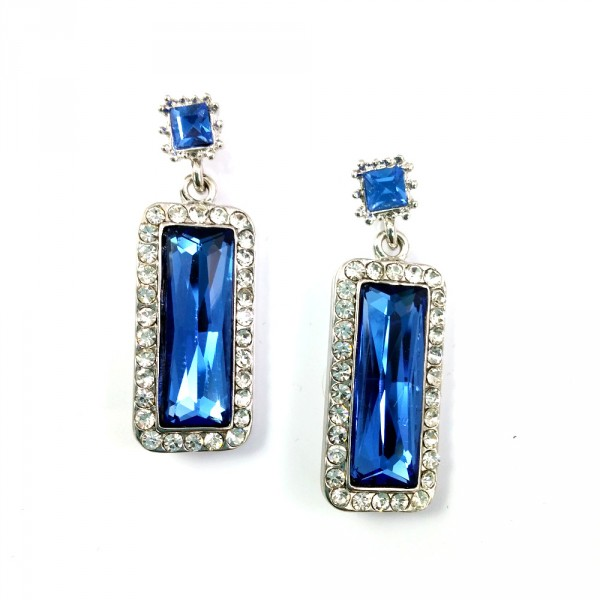 Sky Blue Crystal Encrusted Pave Silver Drop Statement Earrings