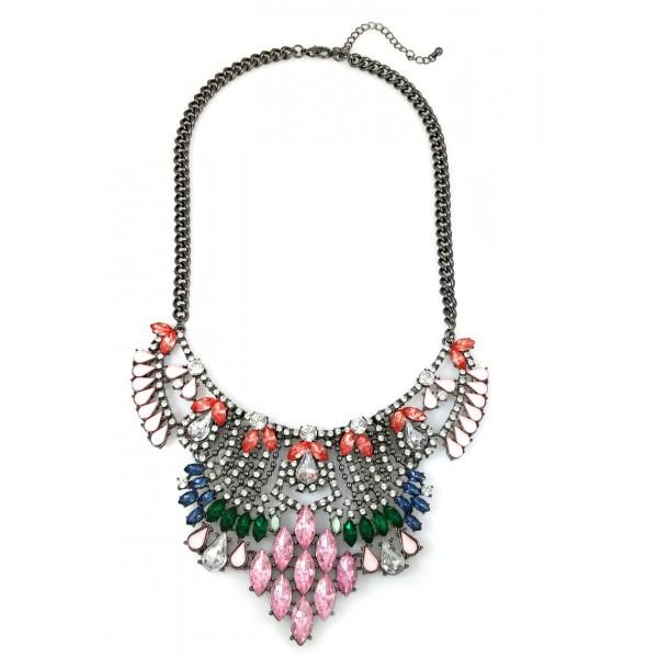 Hematite Tabitha Crystal Chain Teardrop Clustered Jewel