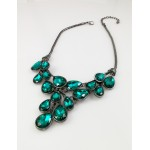 Teal Dew Drop CZ Crystal Hematite Chain Statement Necklace