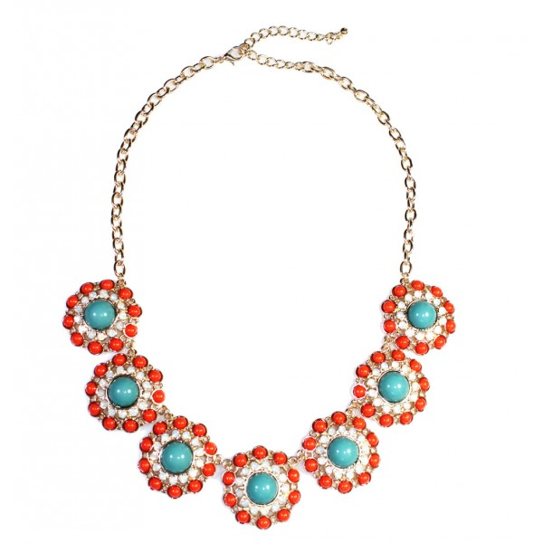 Tropic Circle Enamel Floral Gem Bib Statement Necklace