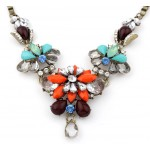Gerbera Orange Flower Crystal Gems Vintage Necklace