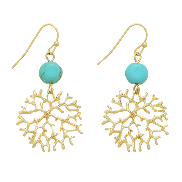 Stella Turquoise Stone Gold Coral Reef Earrings