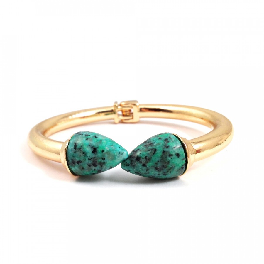 Ite Stone Cone Hinge Gold Statement Cuff Bracelet