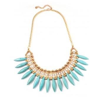 Turquoise Spike Fringe Stone Statement Necklace