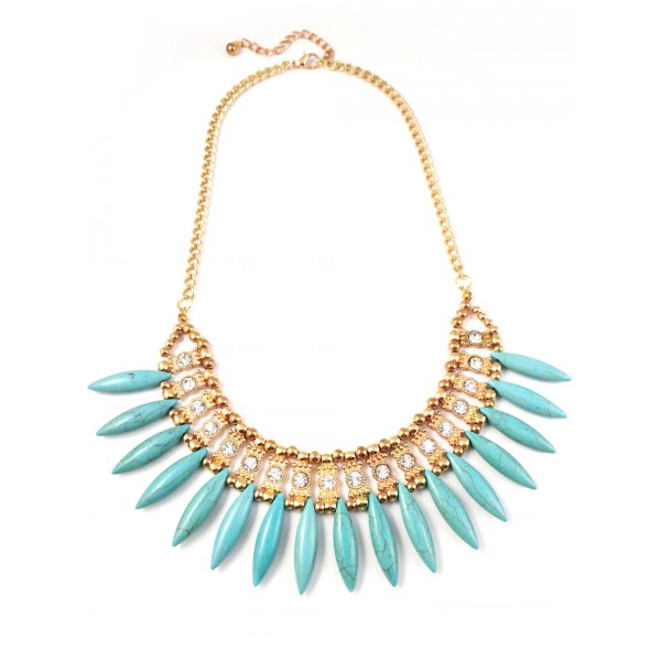 Turquoise Spike Fringe Stone Statement Necklace