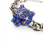 Sapphire Crystal Jaguar Head Gunmetal Bracelet