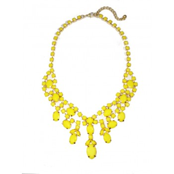 Yellow Bauble Stone Cluster Golden  Statement Bib Necklace
