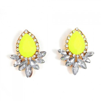 Angelica Neon Crystal Wings Stud Earrings