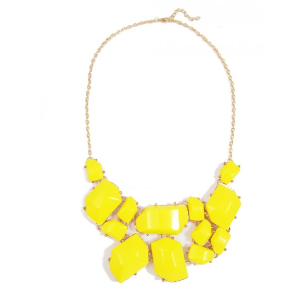 Neon Yellow Lemon Stone Fragment Statement Bib Necklace