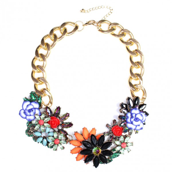 Briar Borealis Jeweled Flower Statement Necklace