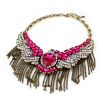 'Miel' Ruby Crystal Encrusted Eagle Statement Necklace