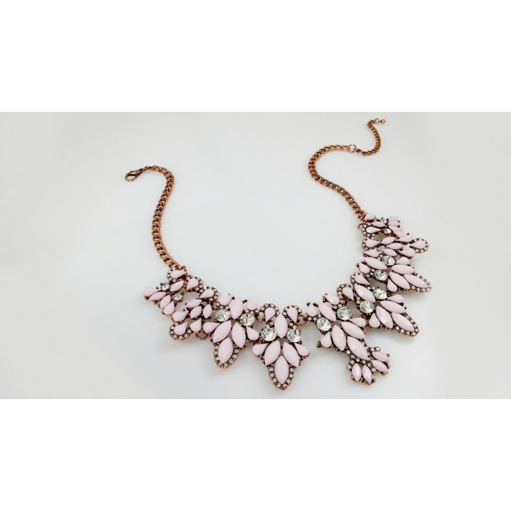 Rosie Blush Crystal Cascade Encrusted Rose Gold Chain Statement ...