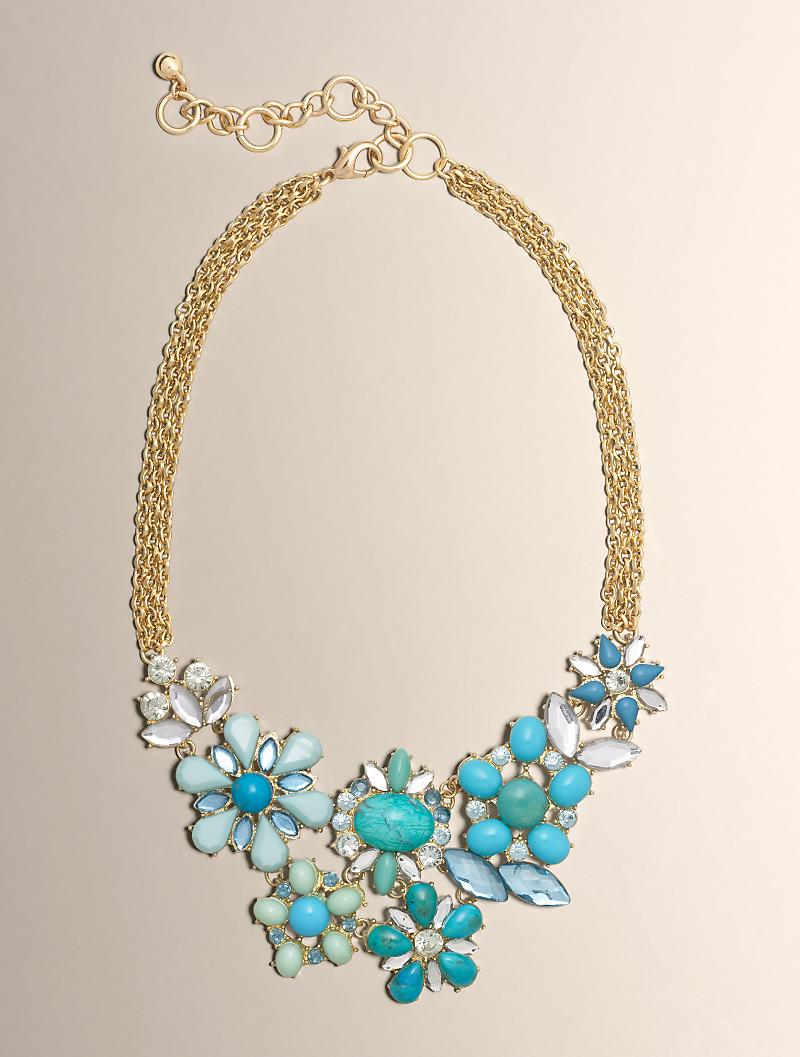 Turquoise Bead Flower Cluster Statement Necklace