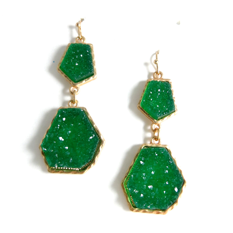 Emerald Geometric Druzy Stone Earrings - photo#41