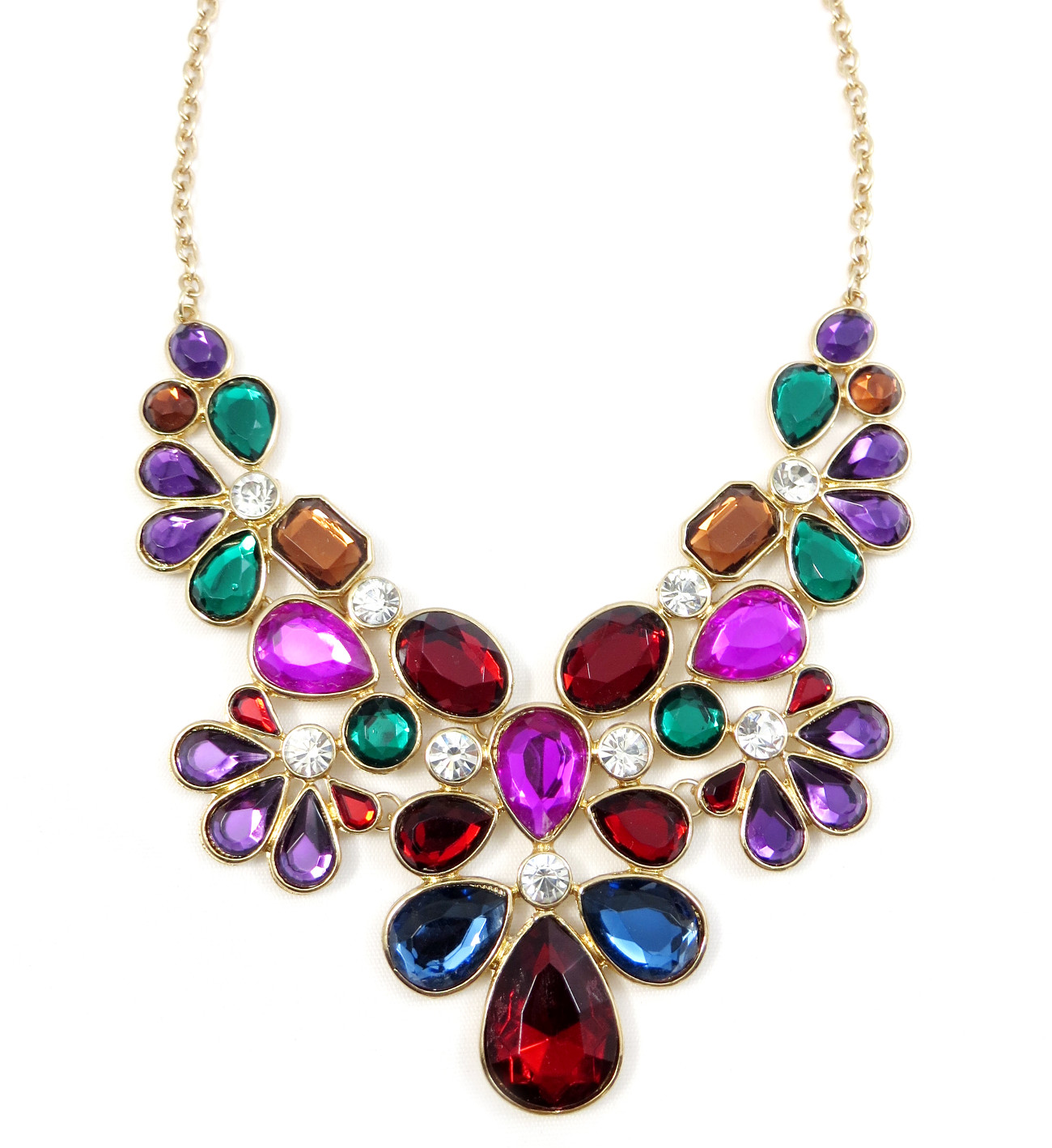 Home ⁄ Necklaces ⁄ Krishna Jewel Toned Gemstone Floral Statement ...