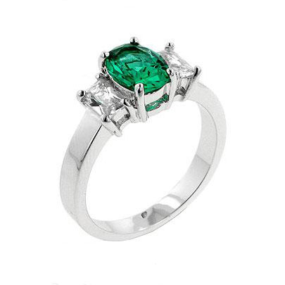 oval emerald green cubic zirconia ring