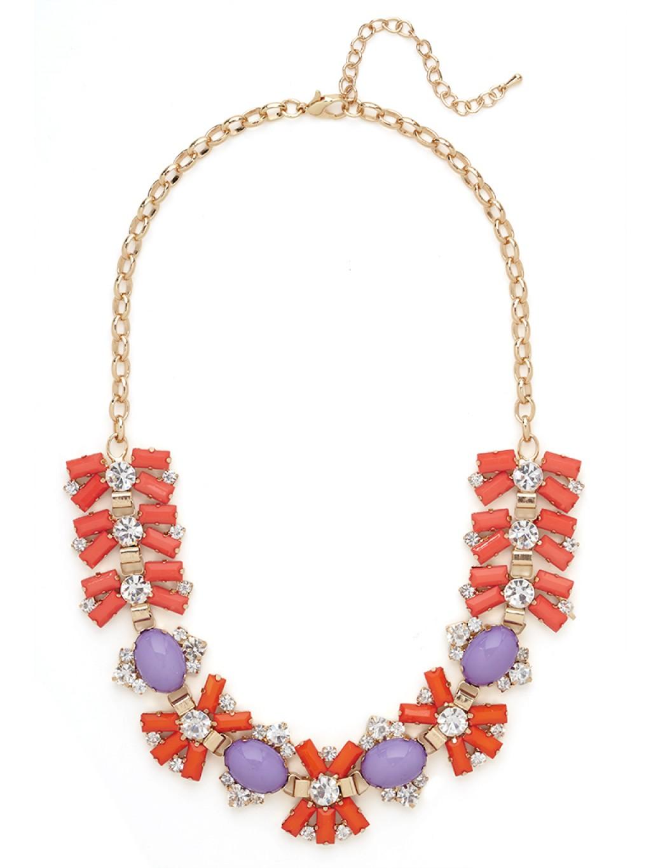 coral firework statement bib necklace