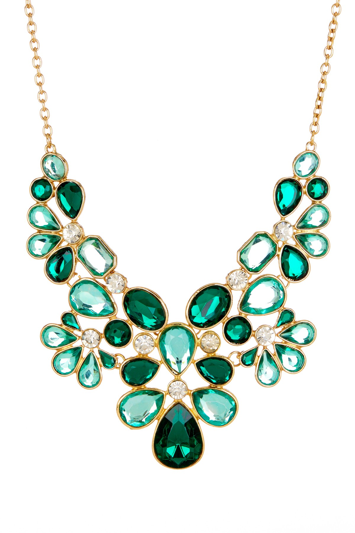 Vishnu Emerald Mix Stone Crystal Glam Statement Bib Necklace - photo#1