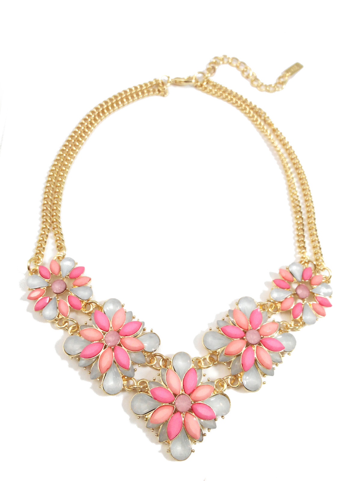 Pink Peonies Opal Stone Clusters Bridal Statement Necklace