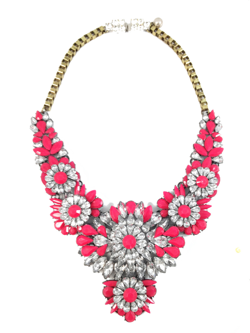 larger p flower alcantara maroon shourouk necklace image