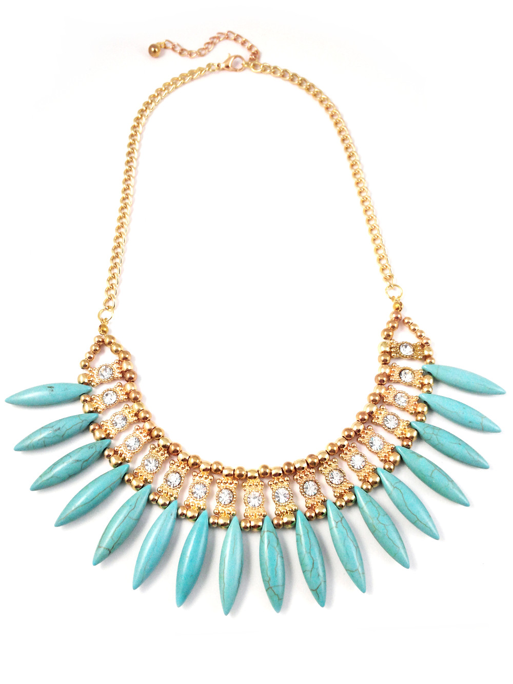 Home ⁄ Necklaces ⁄ Turquoise Spike Fringe Stone Statement Necklace